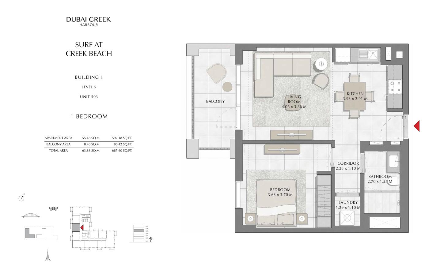 Building 1, 1 Bedroom, Level 5, Size 687 Sq Ft