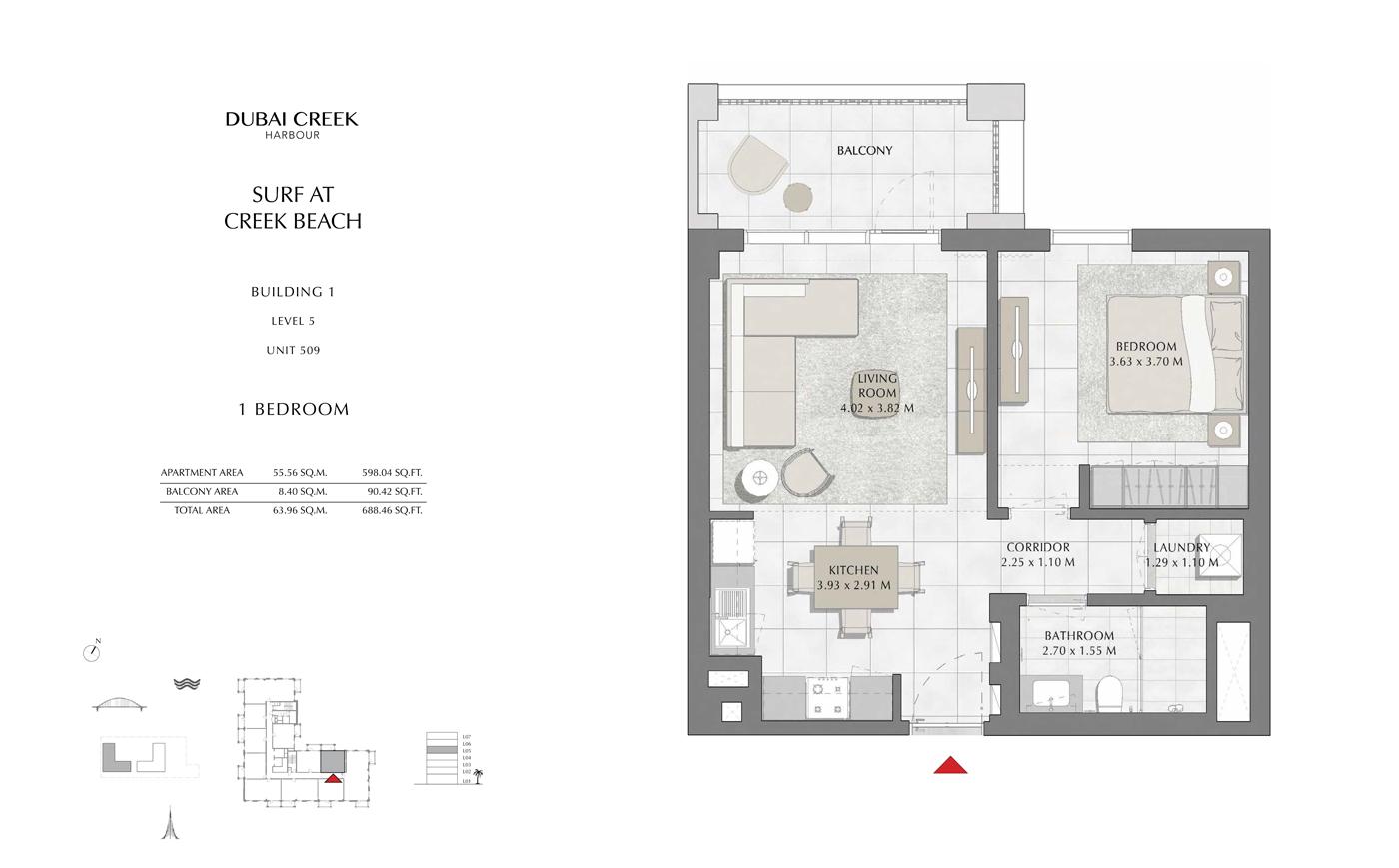 Building 1, 1 Bedroom, Level 5, Size 688 Sq Ft
