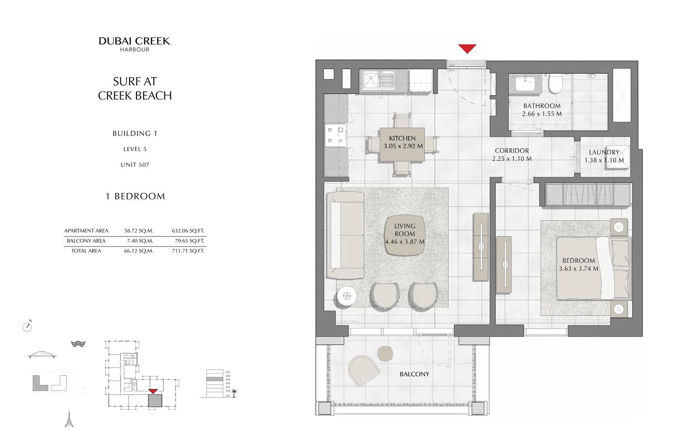Building 1, 1 Bedroom, Level 5, Size 711 Sq Ft