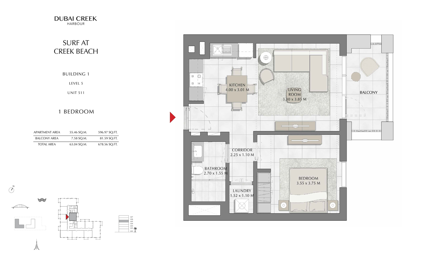 Building 1, 1 Bedroom, Level 5, Unit 511, Size 678 Sq Ft