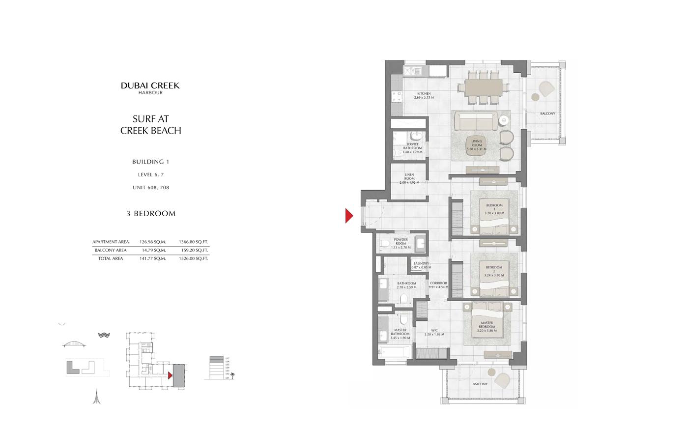 Building 1, 1 Bedroom, Level 6,7 Size 1526 Sq Ft