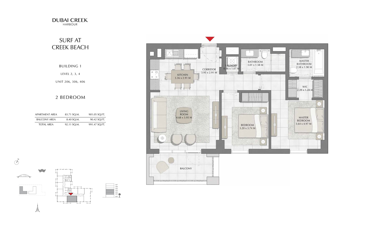 Building 1, 2 Bedroom, Level 2, 3, 4, Size 991 Sq Ft