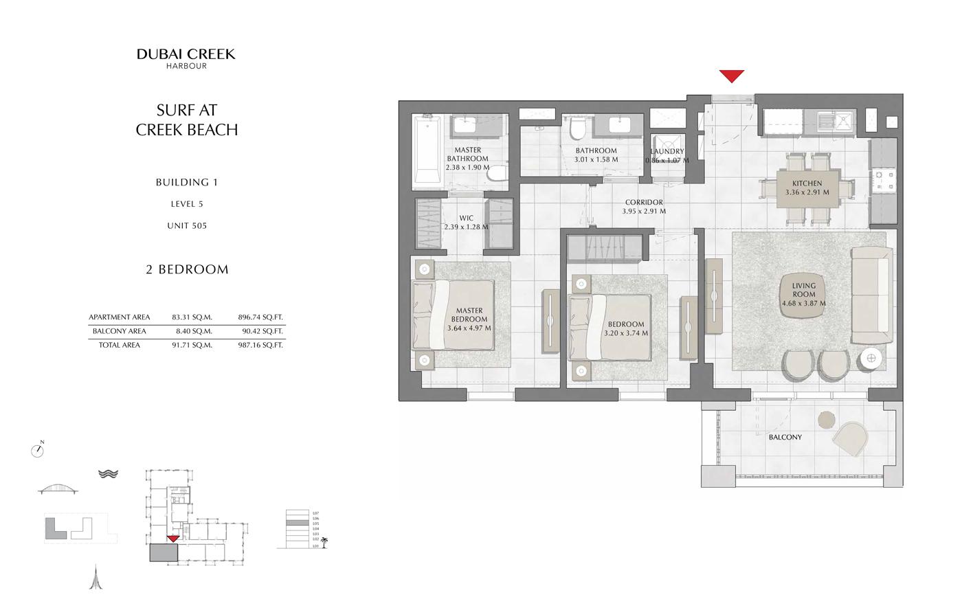 Building 1, 2 Bedroom, Level 5, Size 987 Sq Ft