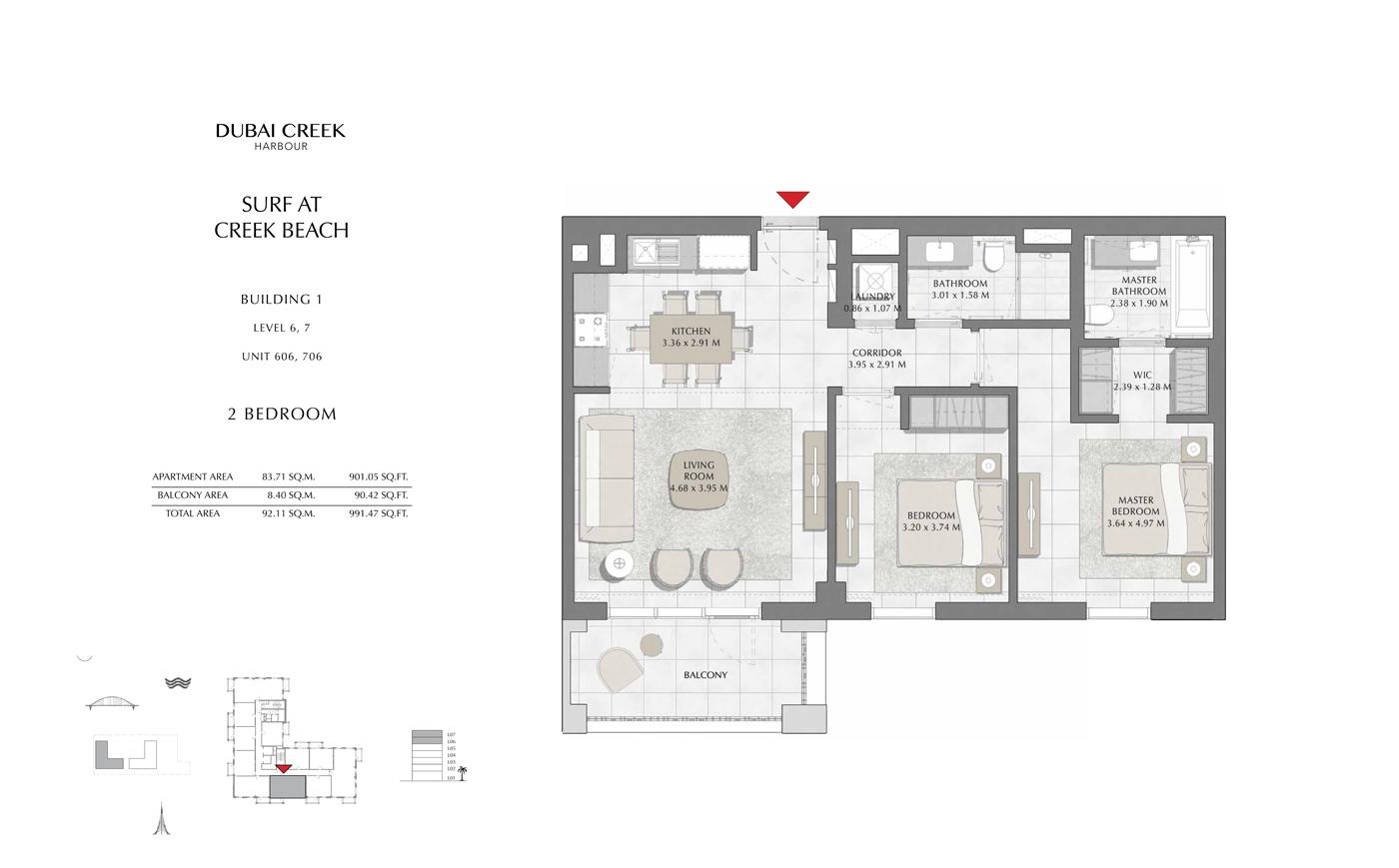 Building 1, 2 Bedroom, Level 6, 7, Size 991 Sq Ft