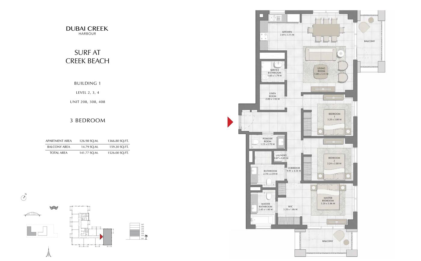 Building 1, 3 Bedroom, Level 2, 3, 4, Size 1526 Sq Ft