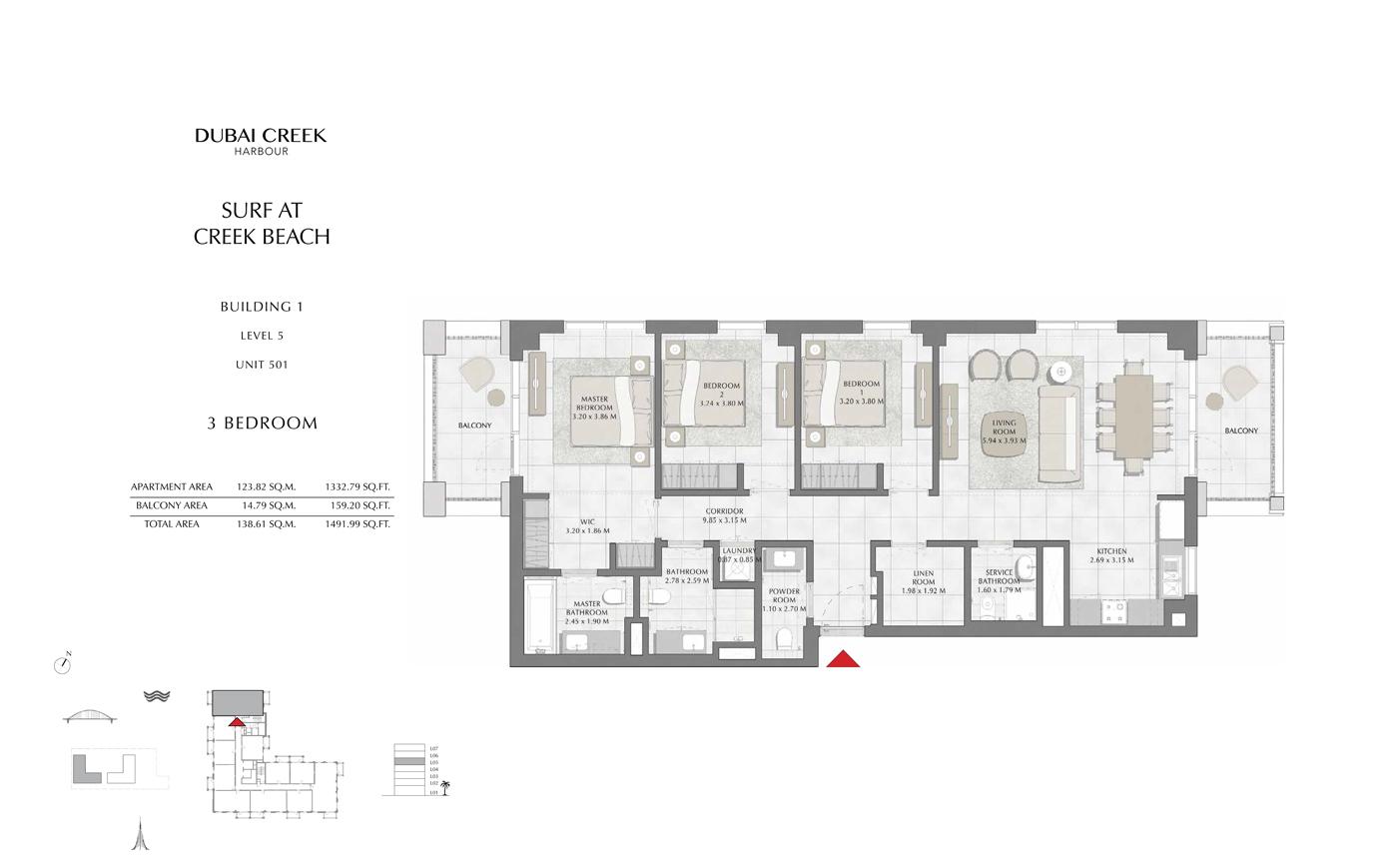 Building 1, 3 Bedroom, Level 5, Size 1491 Sq Ft
