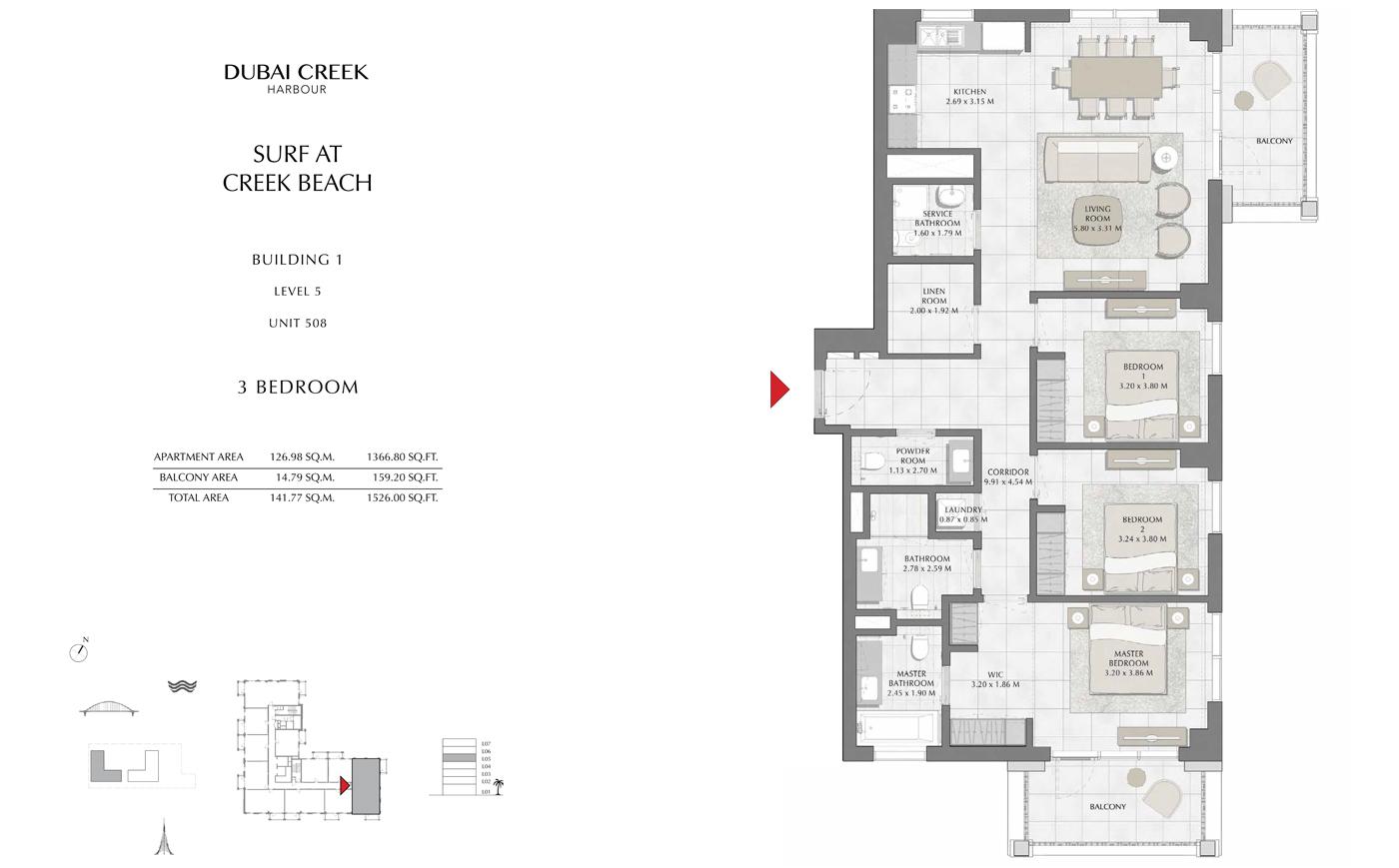 Building 1, 3 Bedroom, Level 5, Size 1526 Sq Ft