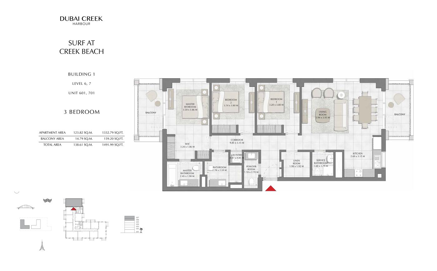 Building 1, 3 Bedroom, Level 6,7, Size 1491 Sq Ft