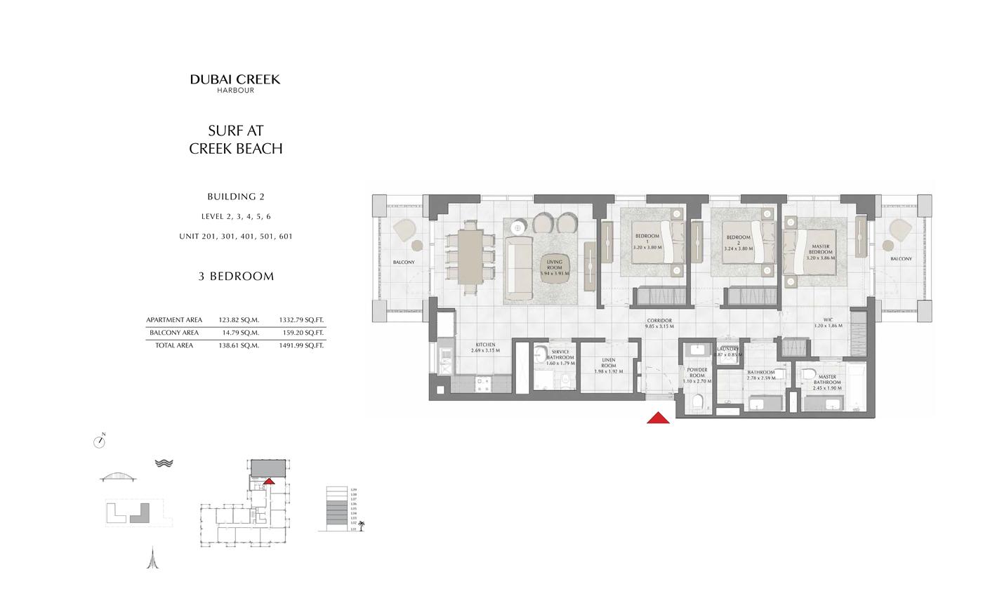 Building 2 , 3 Bedroom Level 2, 3, 4, 5, 6, Size 1491 Sq Ft