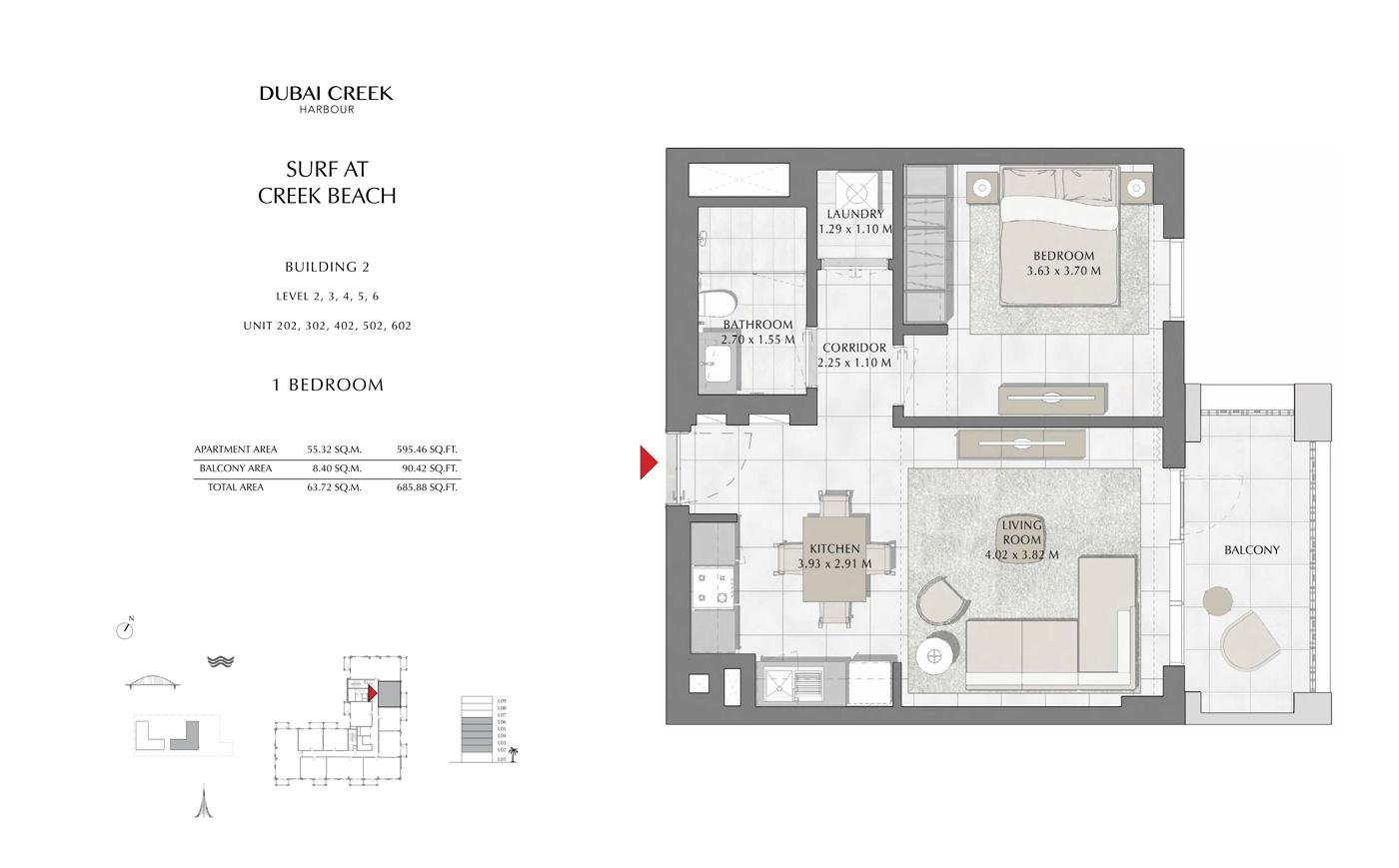 Building 2, 1 Bedroom Level 1, Size 685 Sq Ft