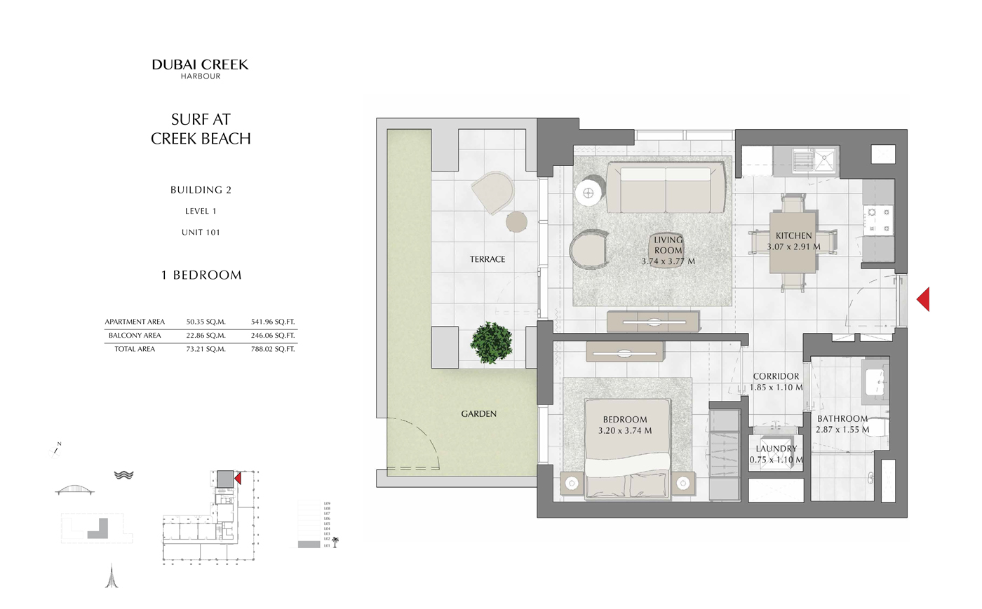 Building 2, 1 Bedroom Level 1, Unit 101, Size 788 Sq Ft