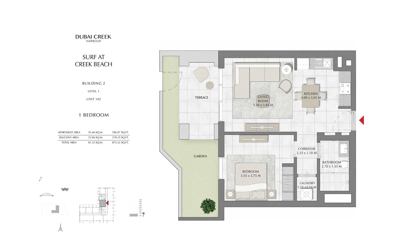 Building 2, 1 Bedroom Level 1, Unit 102, Size 875 Sq Ft