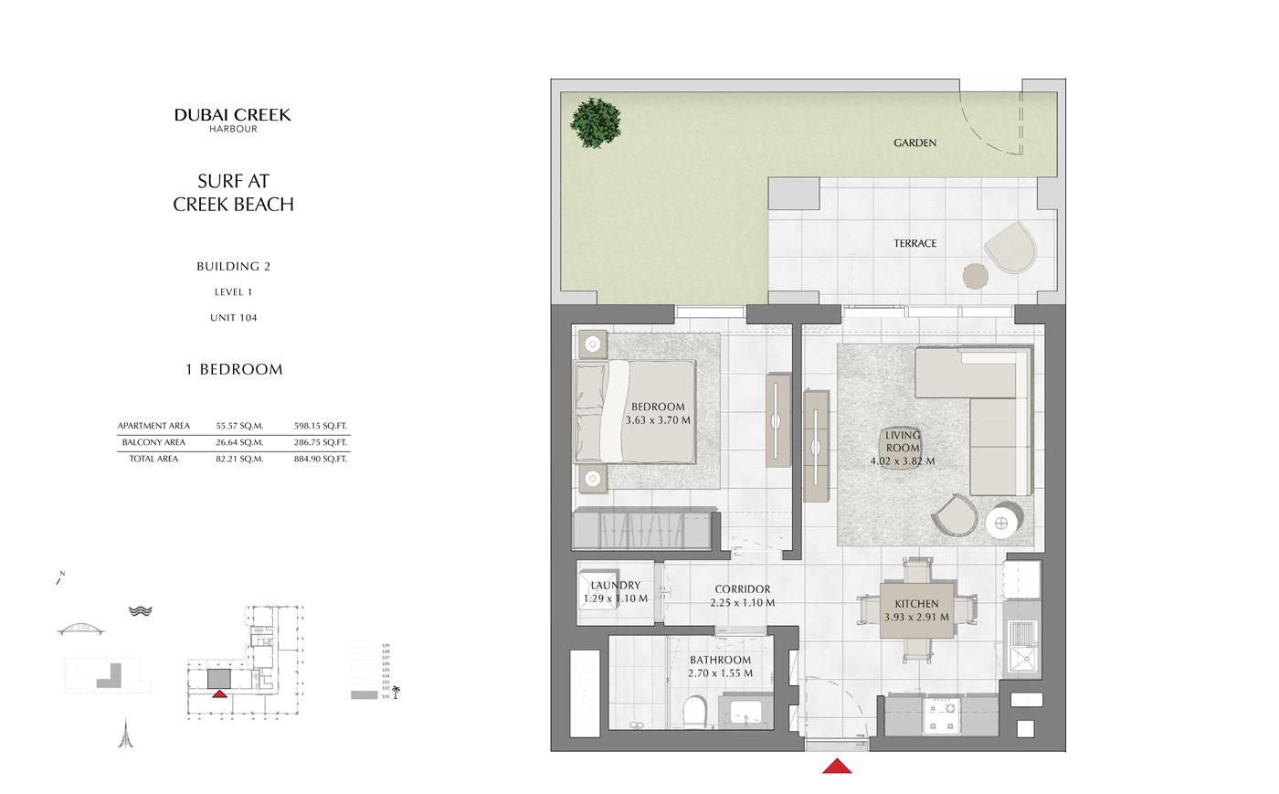 Building 2, 1 Bedroom Level 1, Unit 104, Size 884 Sq Ft