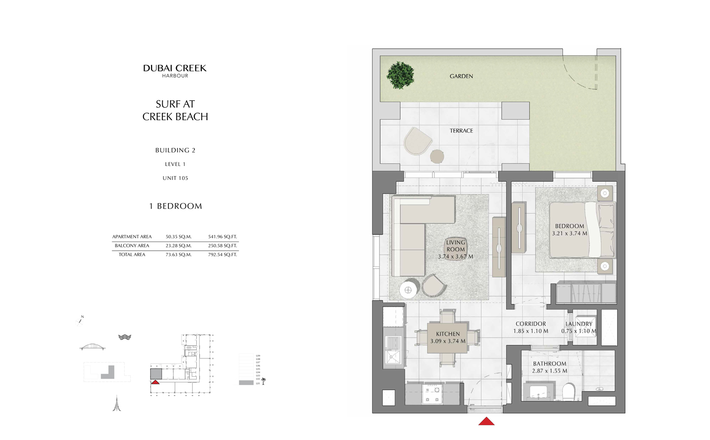 Building 2, 1 Bedroom Level 1, Unit 105, Size 792 Sq Ft