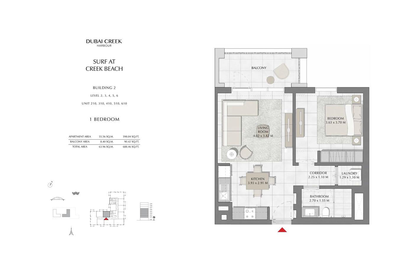 Building 2, 1 Bedroom Level 2, 3, 4, 5, 6 Size 688 Sq Ft