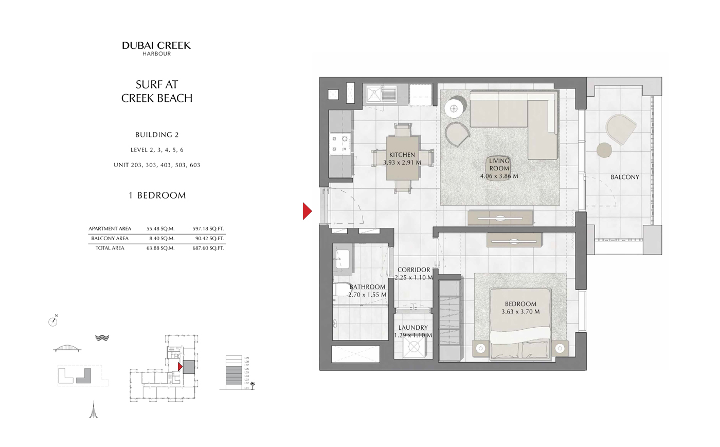 Building 2, 1 Bedroom Level 2, 3, 4, 5, 6, Size 687 Sq Ft