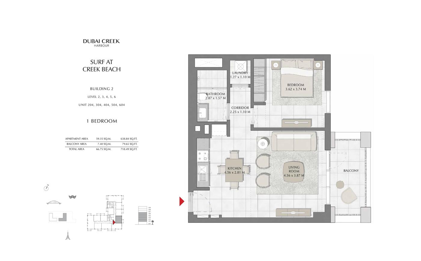 Building 2, 1 Bedroom Level 2, 3, 4, 5, 6, Size 718 Sq Ft