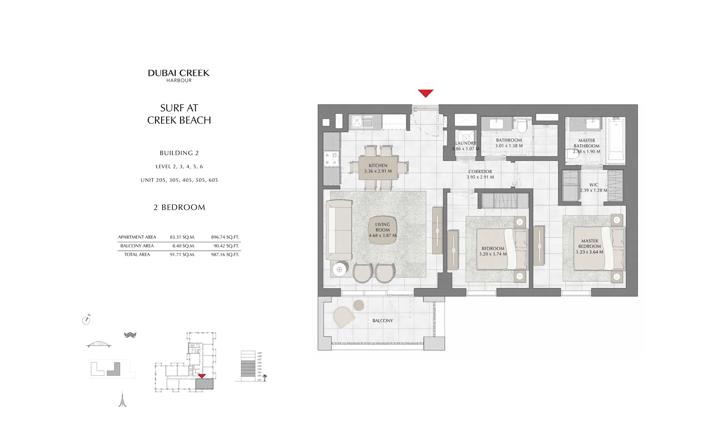Building 2, 2 Bedroom Level 2, 3, 4, 5, 6, Size 987 Sqft