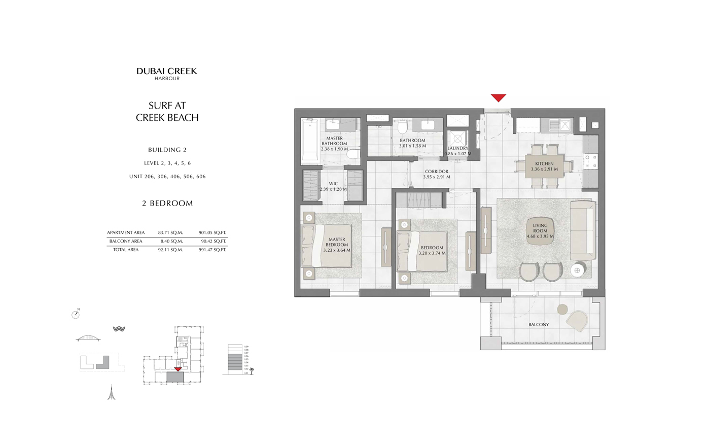 Building 2, 2 Bedroom Level 2, 3, 4, 5, 6, Size 991 Sq Ft