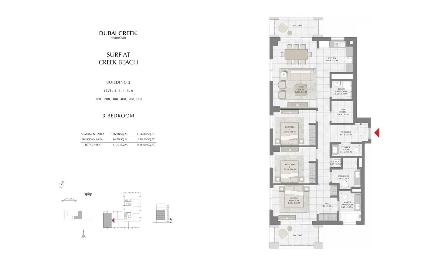 Building 2, 3 Bedroom Level 2, 3, 4, 5, 6, Size 1526 Sq Ft