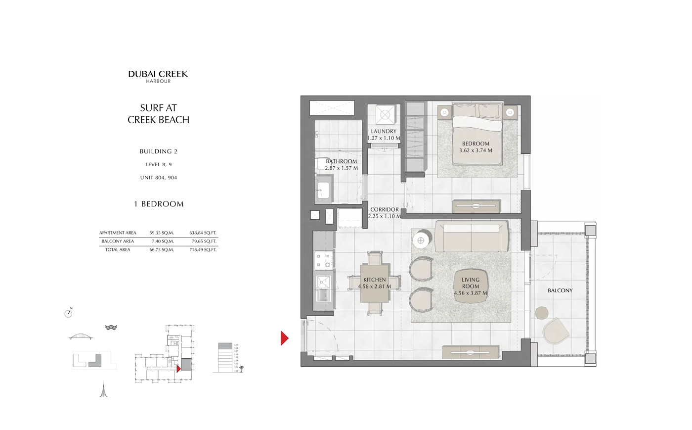 Building 2, 1 Bedroom Level 8, 9, Size 718 Sq Ft
