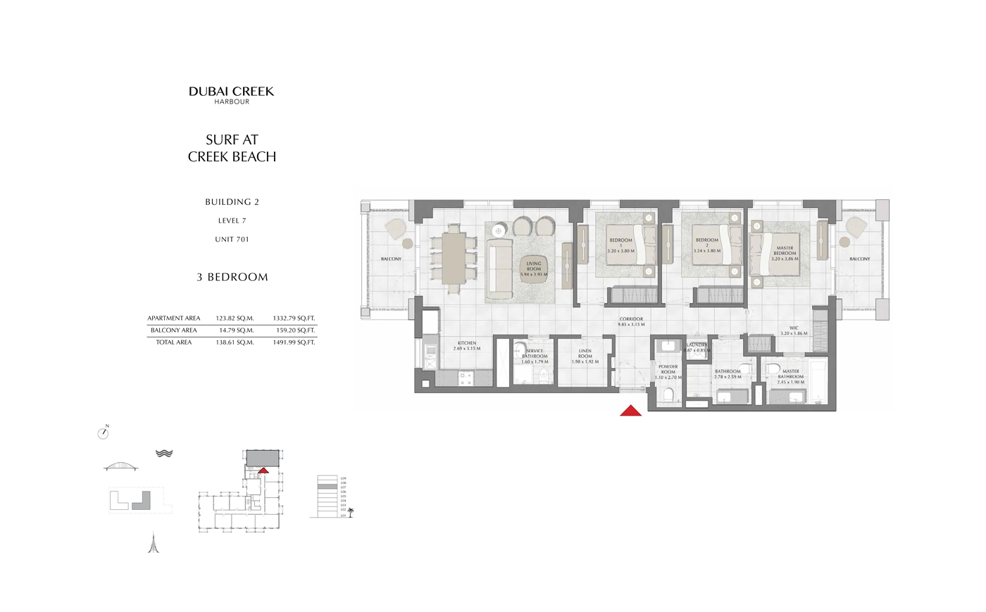Building 2, 1 Bedroom Level 2, 3 ,4, 5, 6 Size 678 Sq Ft