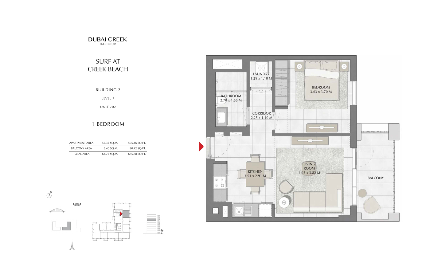 Building 2, 1 Bedroom Level 7, Size 685 Sq Ft