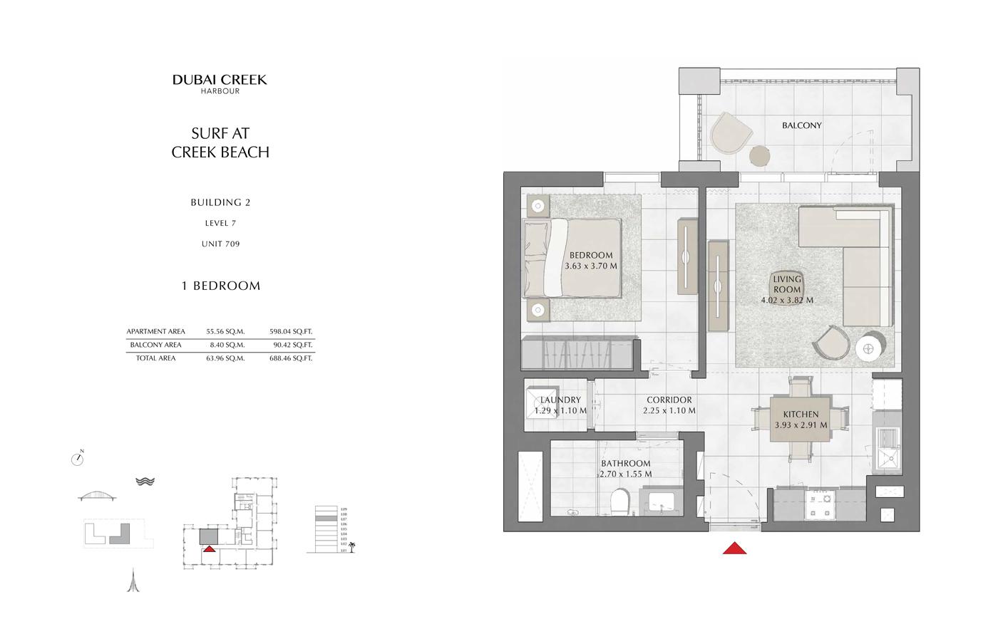 Building 2, 1 Bedroom Level 7, Size 688 Sq Ft