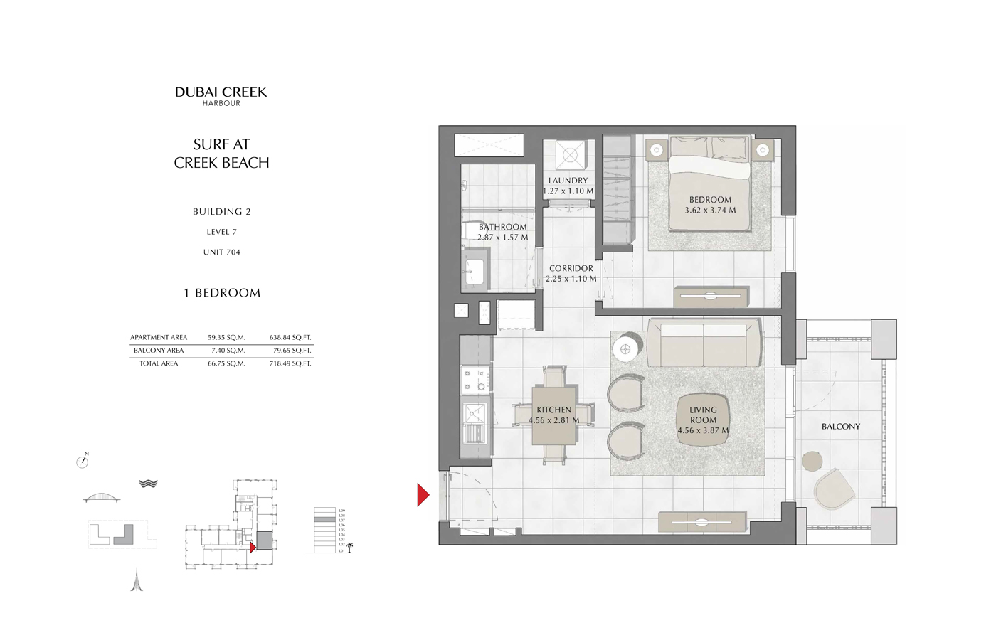 Building 2, 1 Bedroom Level 7, Size 718 Sq Ft