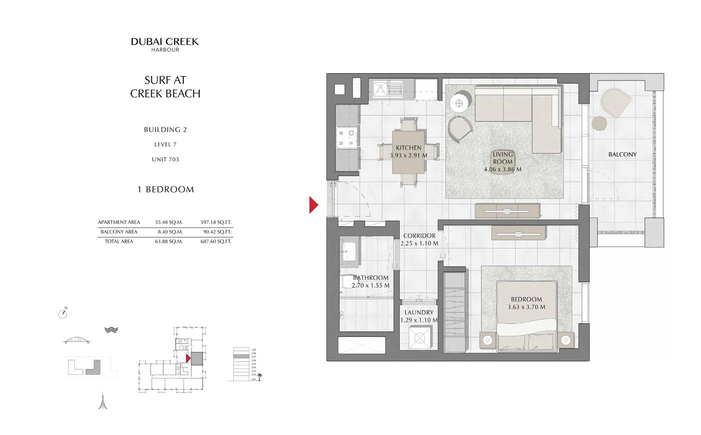Building 2, 1 Bedroom Level 7, Szie 687 Sq Ft