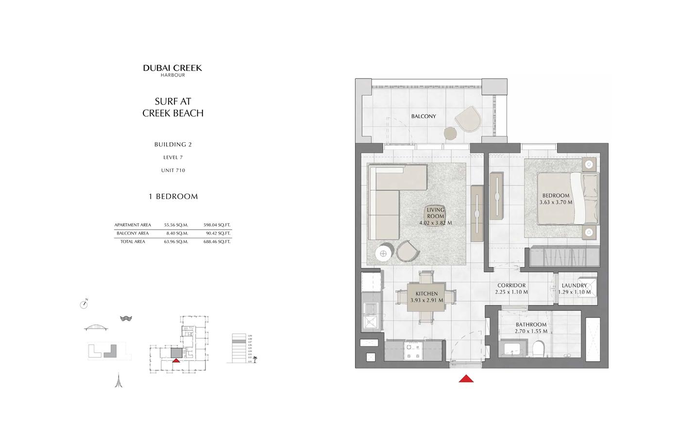 Building 2, 1 Bedroom Level 7, Unit 710, Size 688 Sq Ft