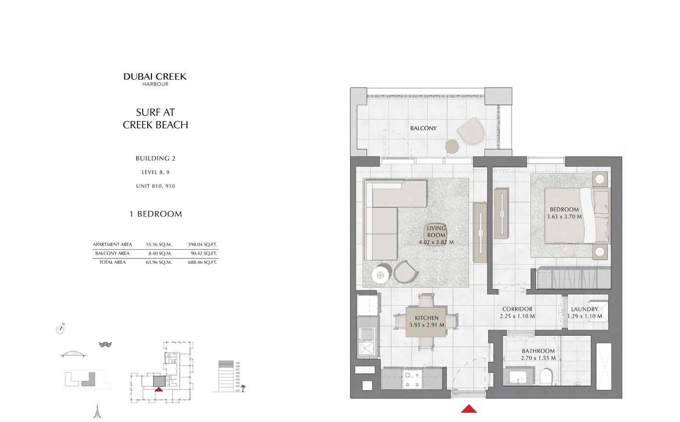 Building 2, 1 Bedroom Level 8, 9, Size 688 Sq Ft