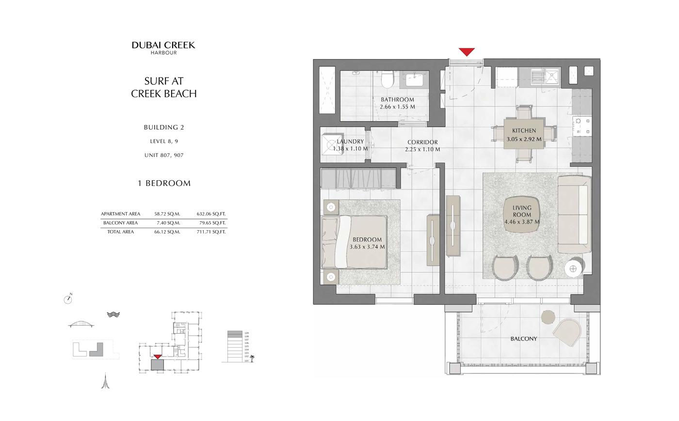 Building 2, 1 Bedroom Level 8, 9, Size 711 Sq Ft