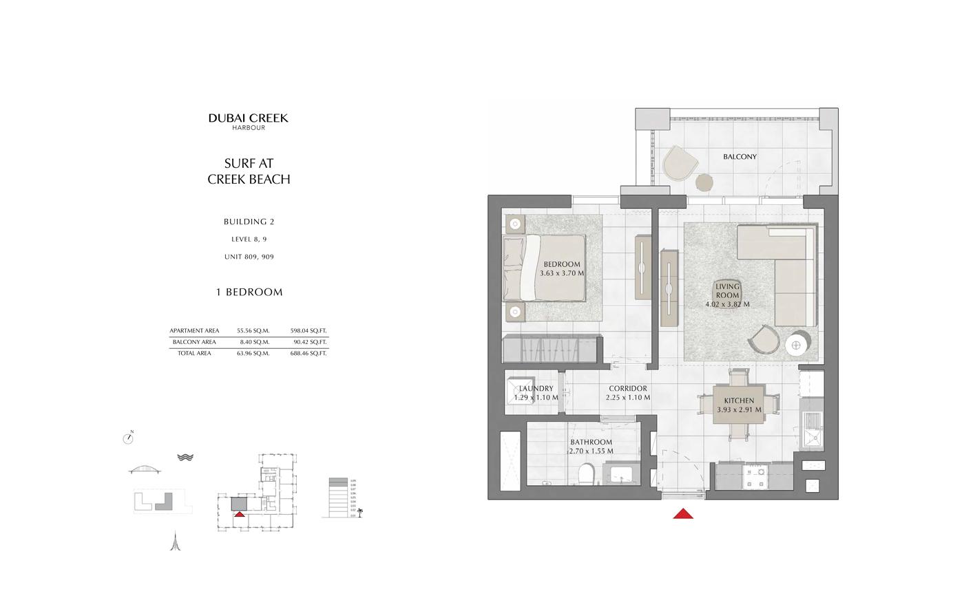 Building 2, 1 Bedroom Level 8,9, Size 688 Sq Ft
