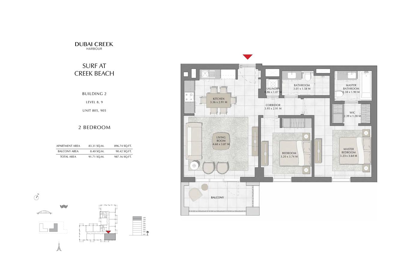 Building 2, 2 Bedroom Level 8, 9, Size 987 Sq Ft