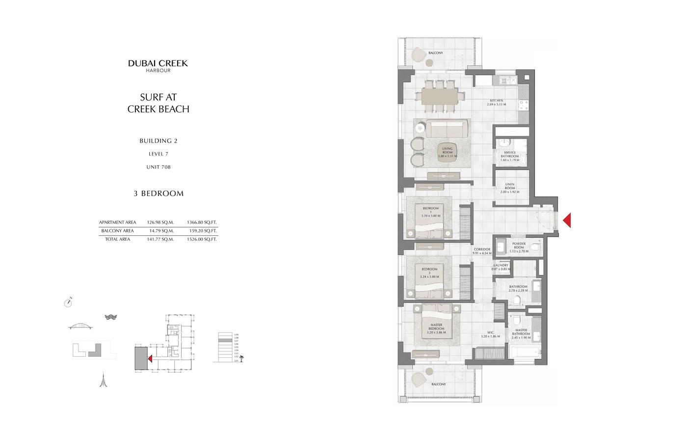 Building 2, 3 Bedroom Level 7, Size 1526 Sq Ft