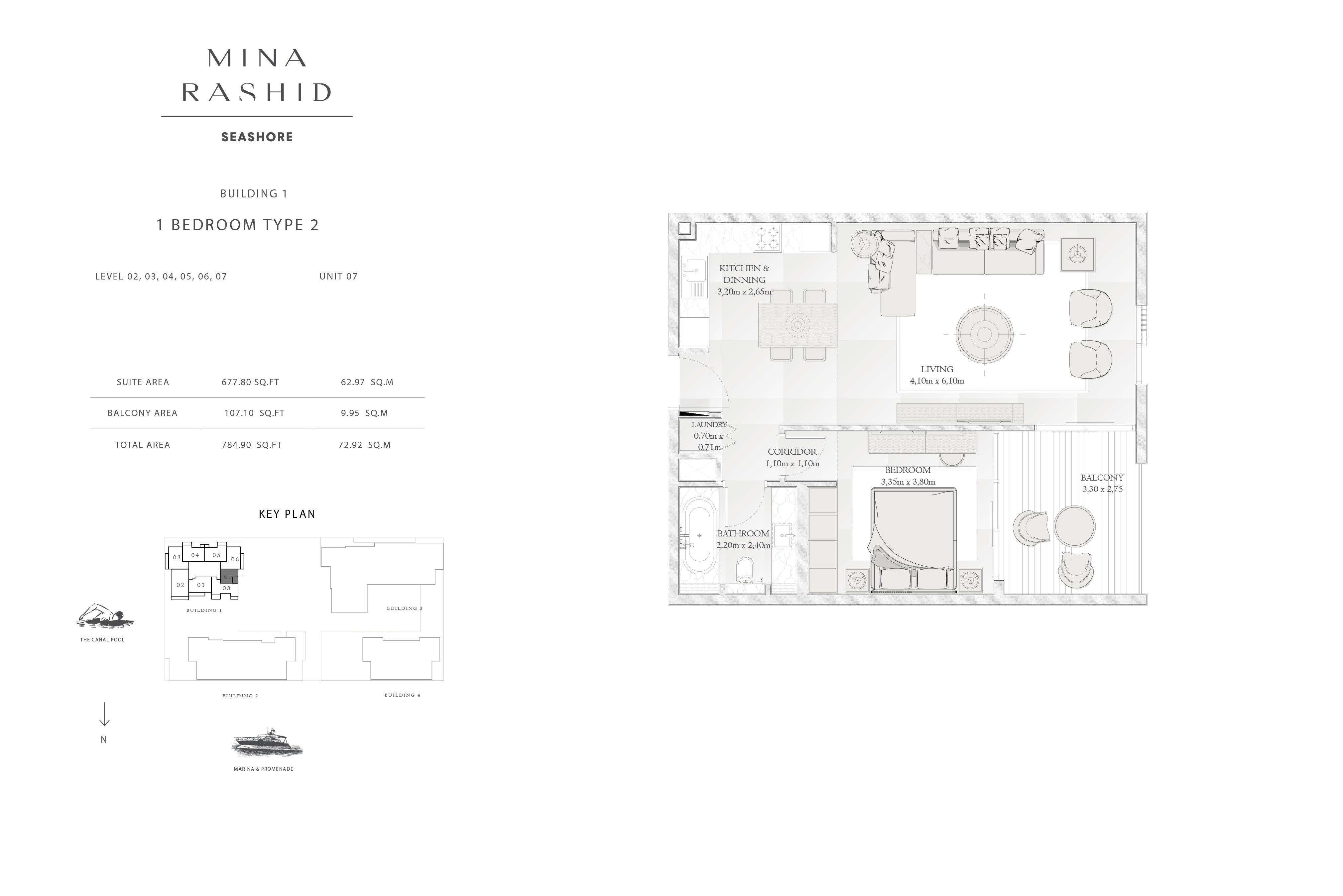 Building-1, 1-Bedroom-Type-2, Size-784-Sq Ft