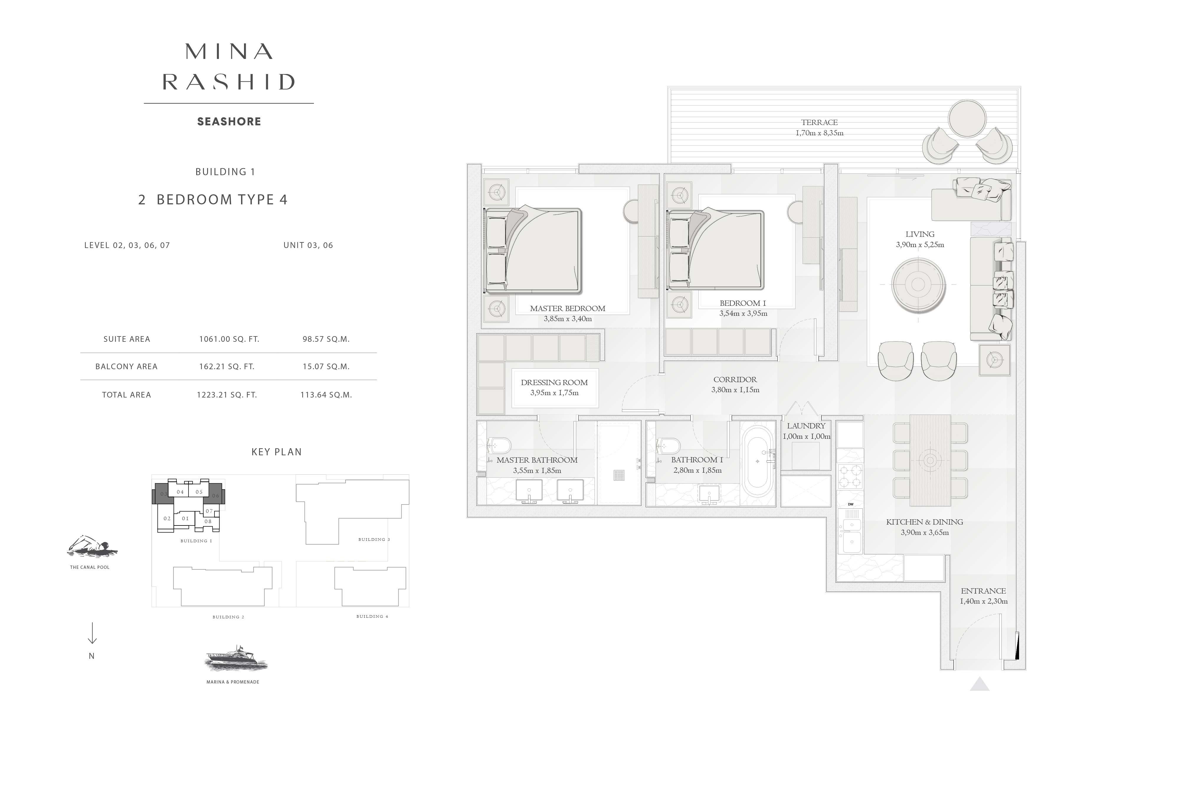 Building-1, 2-Bedroom-Type-4, Size-1223-Sq-Ft