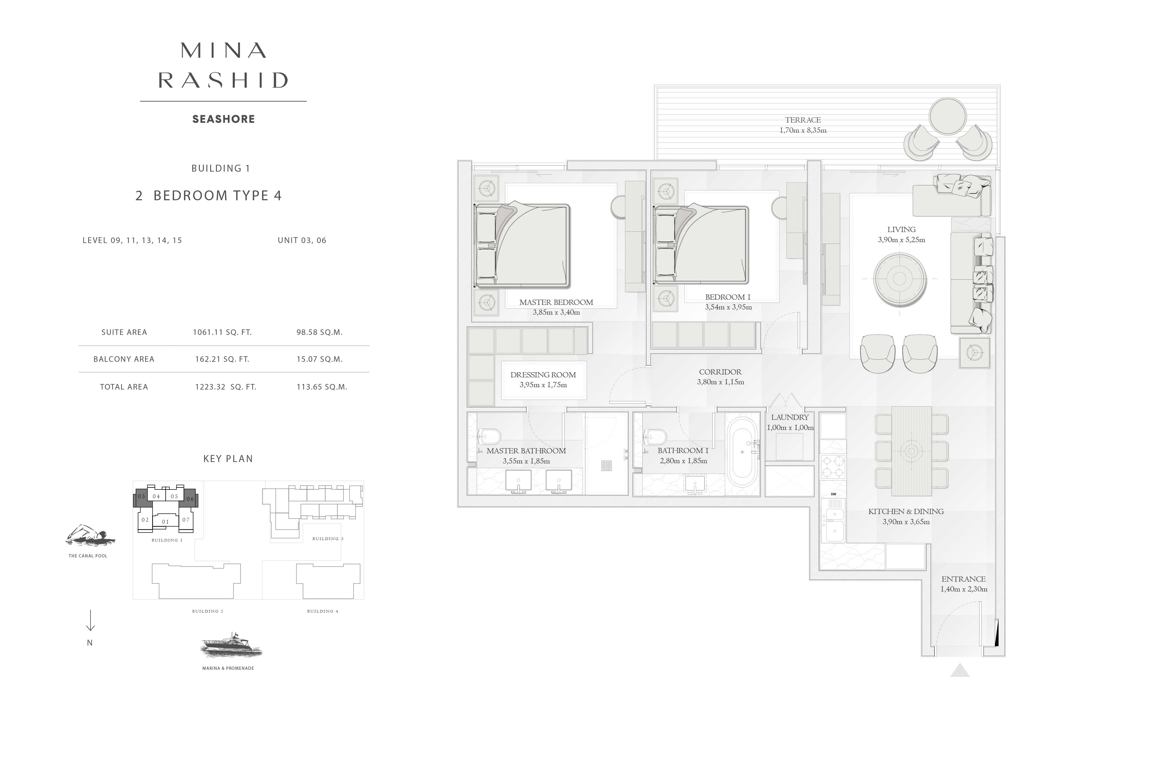 Building-1, 2-Bedroom-Type-4, Size-1233-Sq-Ft