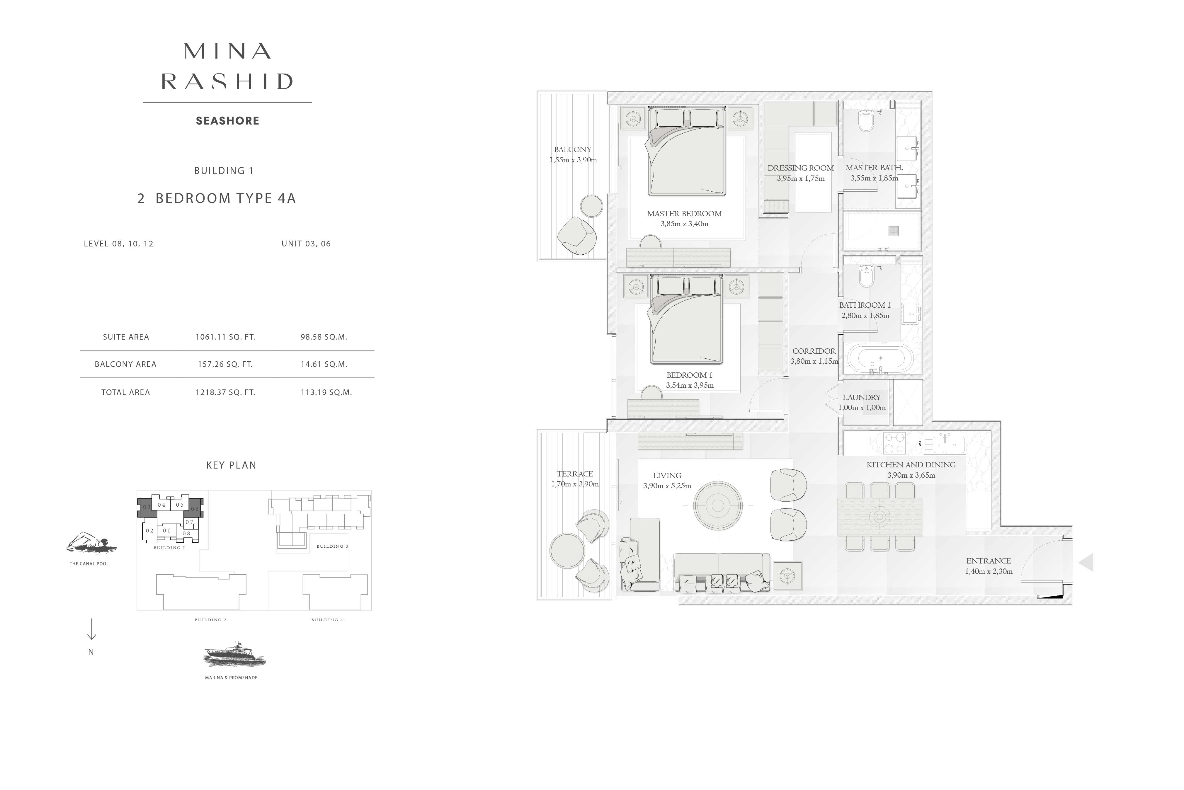Building-1, 2-Bedroom-Type-4A, Level(8, 10, 12), Size-1218-Sq-Ft