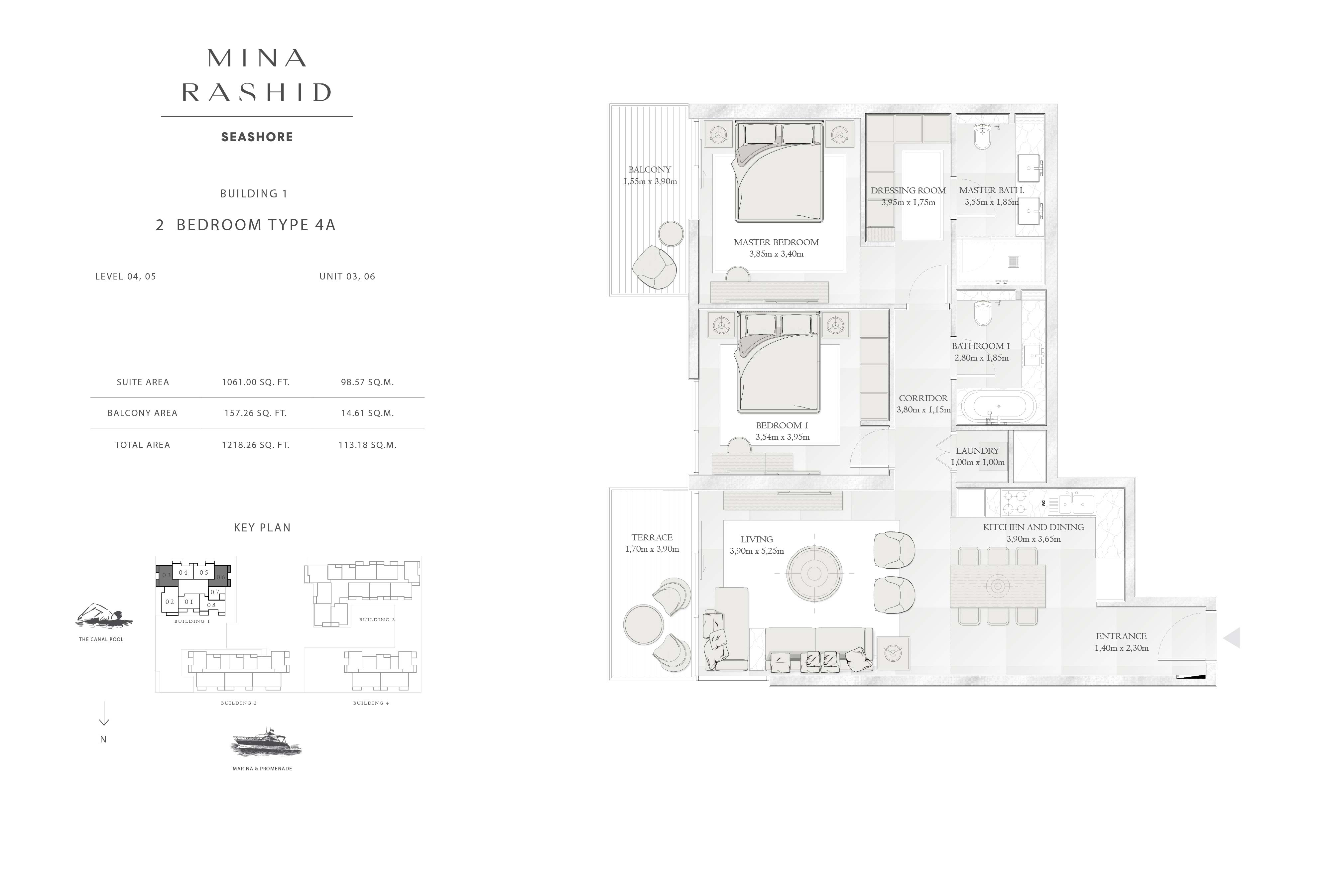 Building-1, 2-Bedroom-Type-4A, Size-1218-Sq-Ft