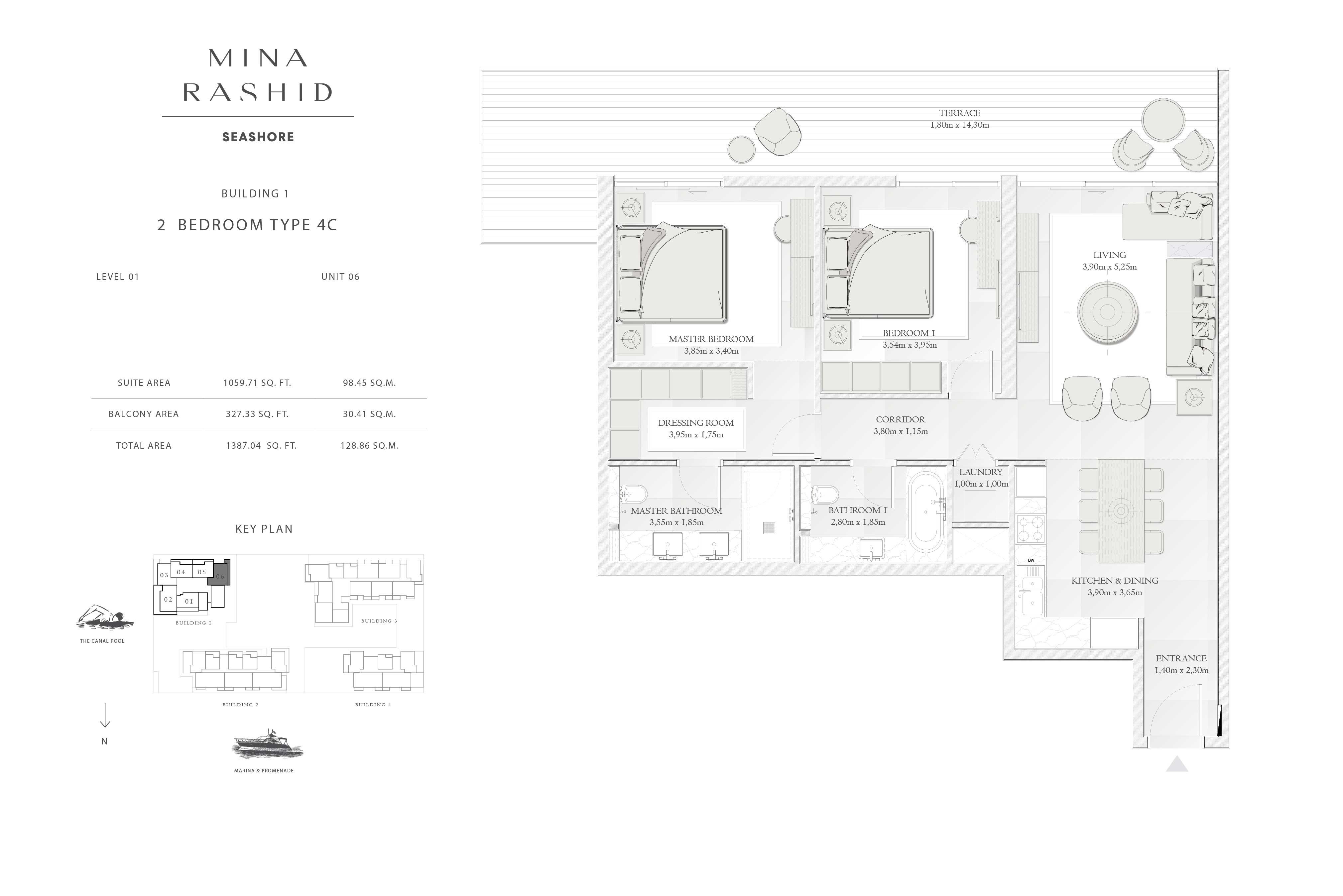 Building-1, 2-Bedroom-Type-4C, Size-1387-Sq-Ft