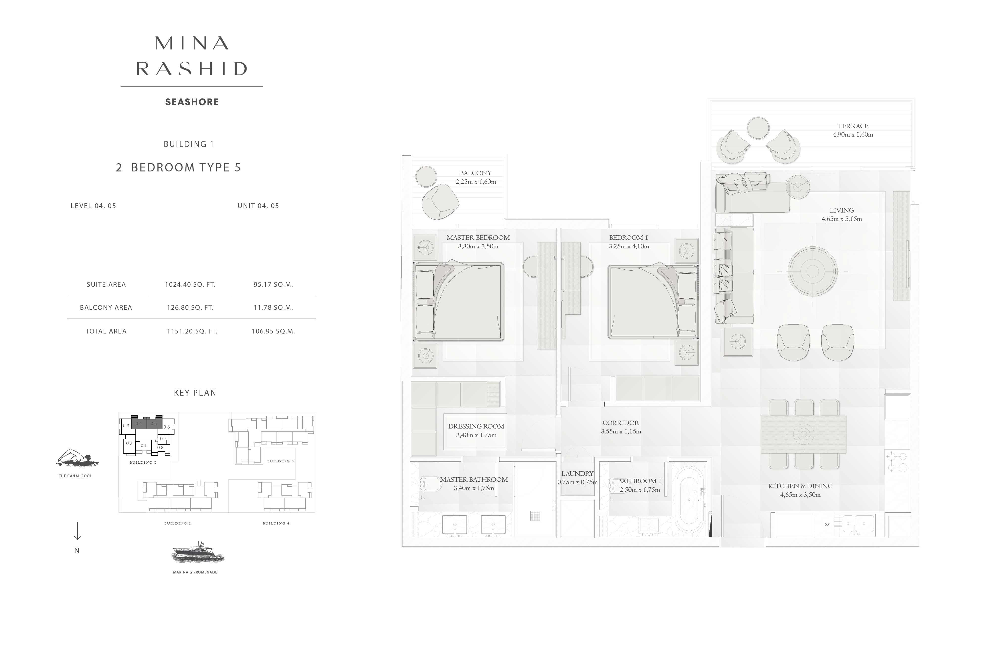 Building-1, 2-Bedroom Type-5, Level(4, 5), Size-1151-Sq-Ft