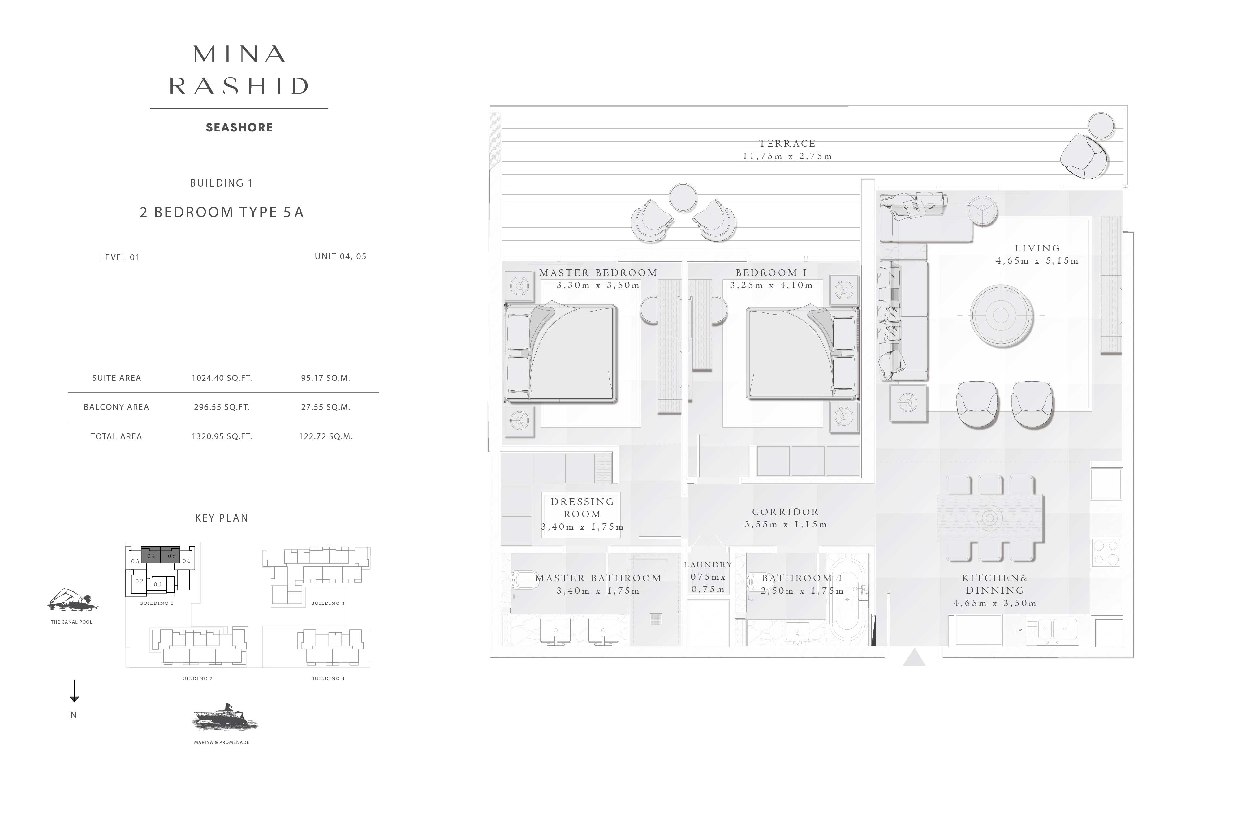 Building-1, 2-Bedroom-Type-5A Level-01, Size-1320-Sq-Ft