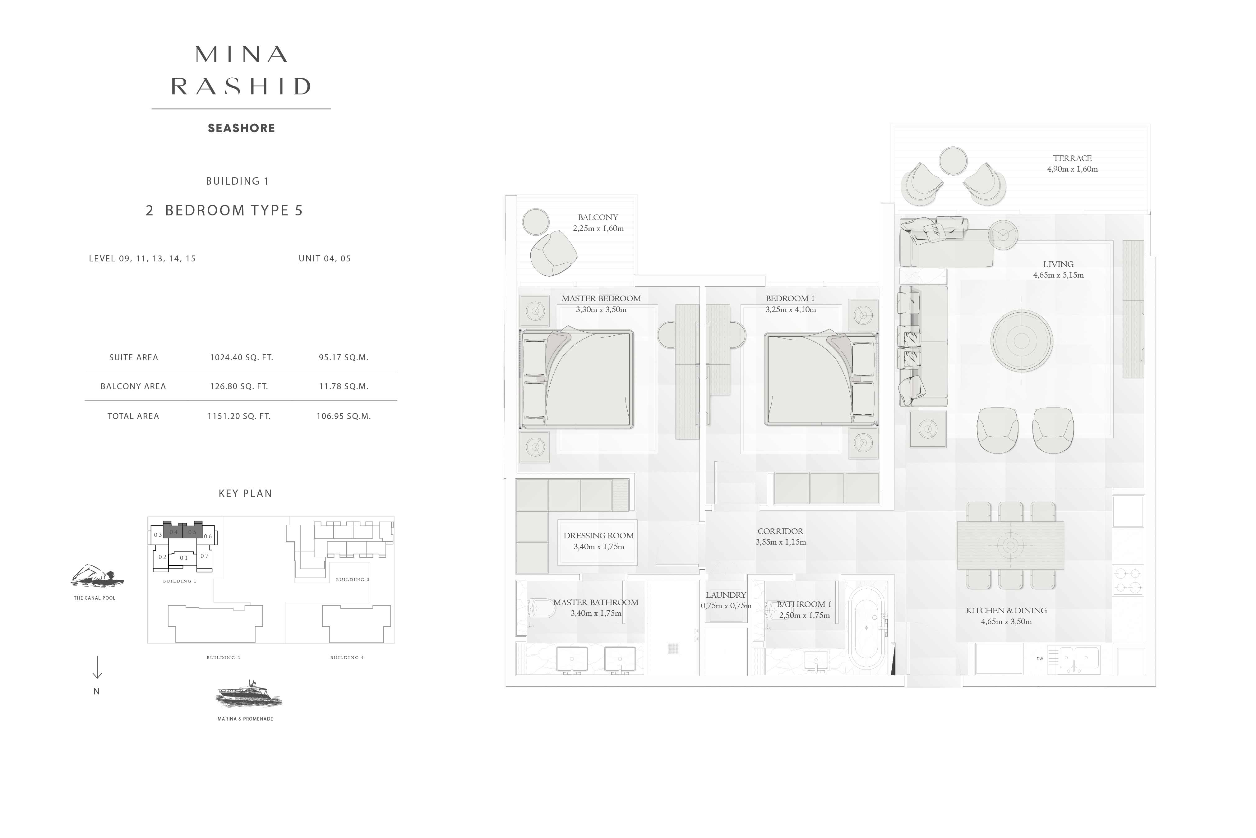 Building-1, 2-Bedroom-Type-5 Level-(9, 11, 13, 14, 15), Size-1151-Sq Ft