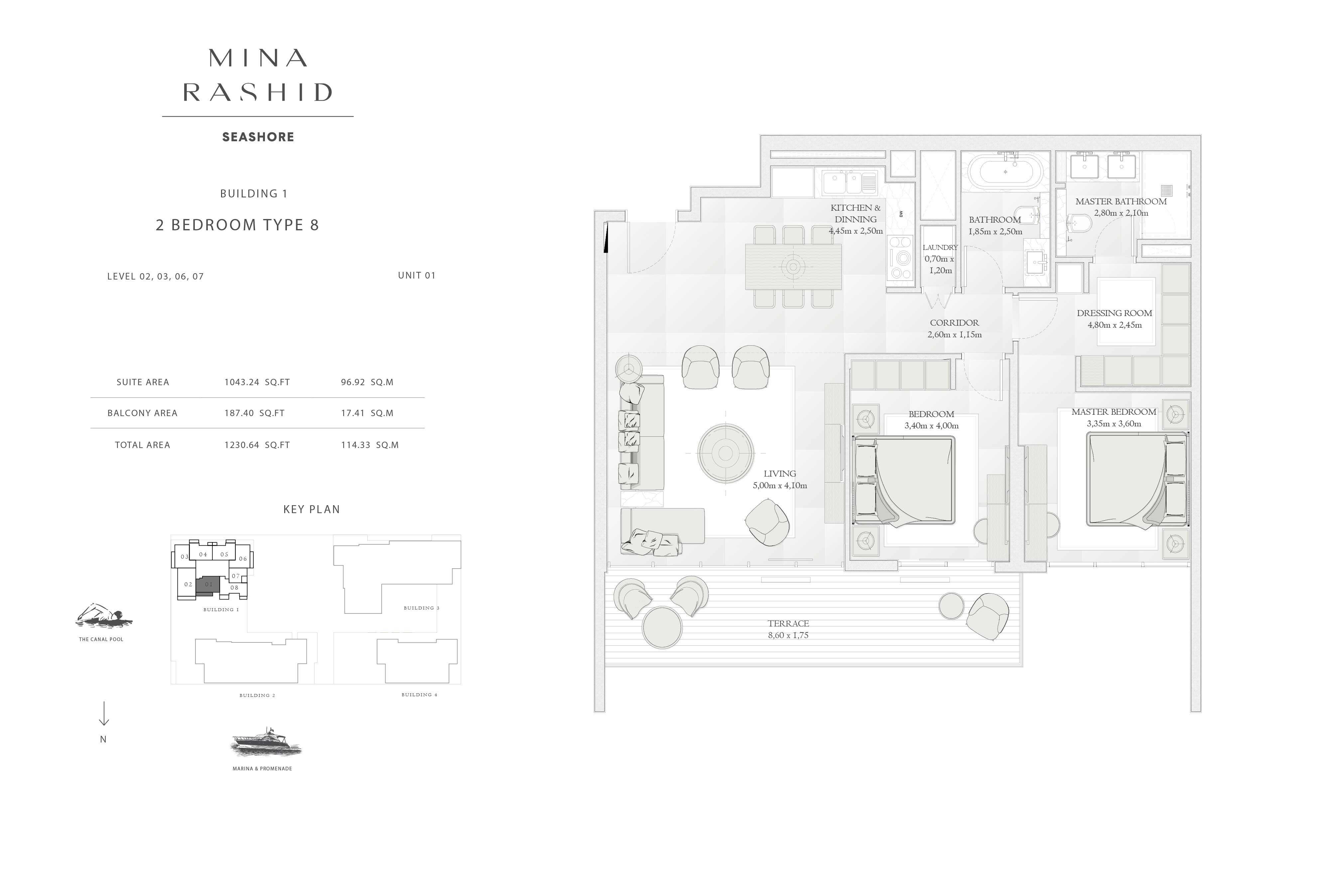 Building-1, 2-Bedroom-Type-8, Size-1230-Sq Ft
