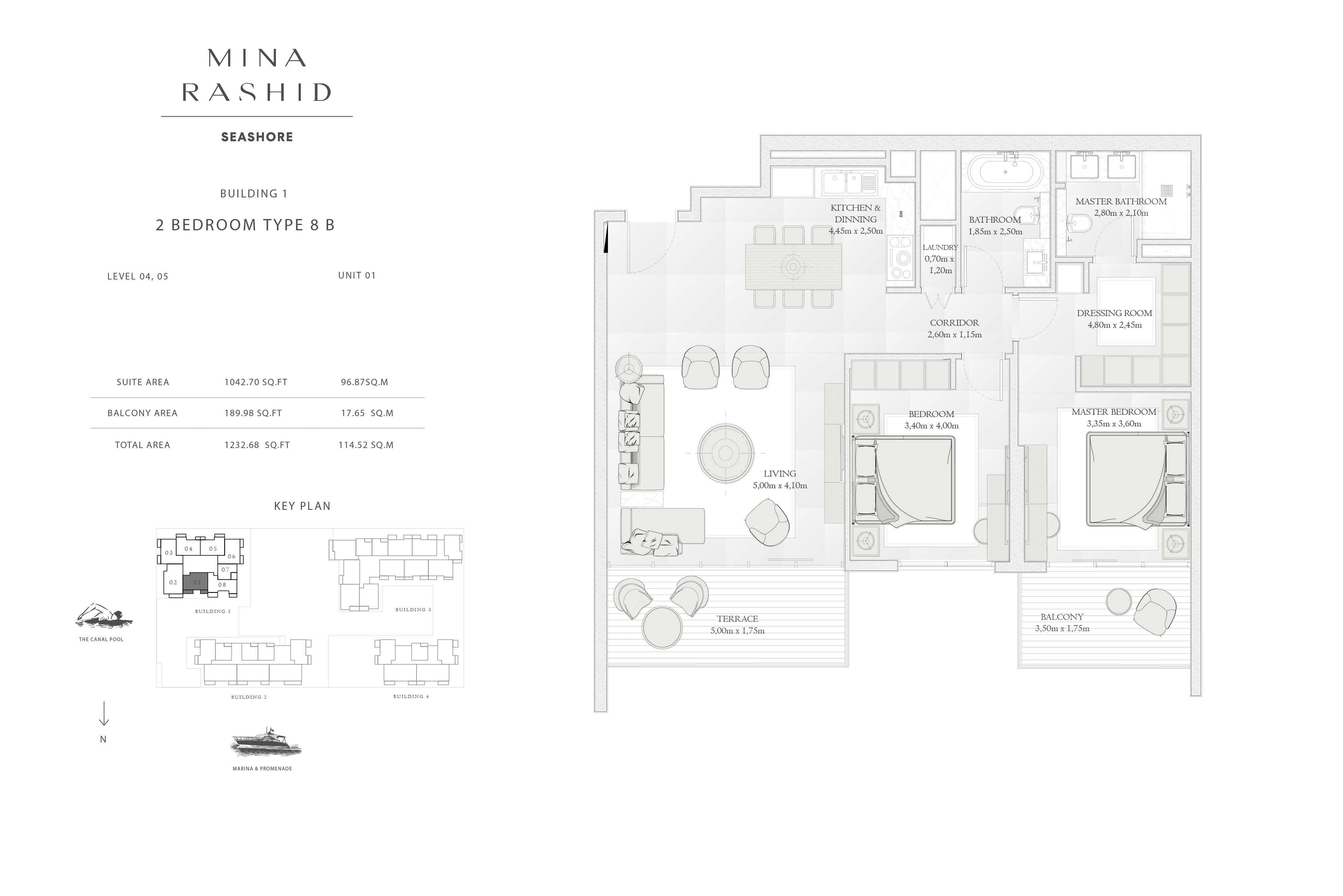 Building-1, 2-Bedroom-Type-8B, Size-1232-Sq-Ft