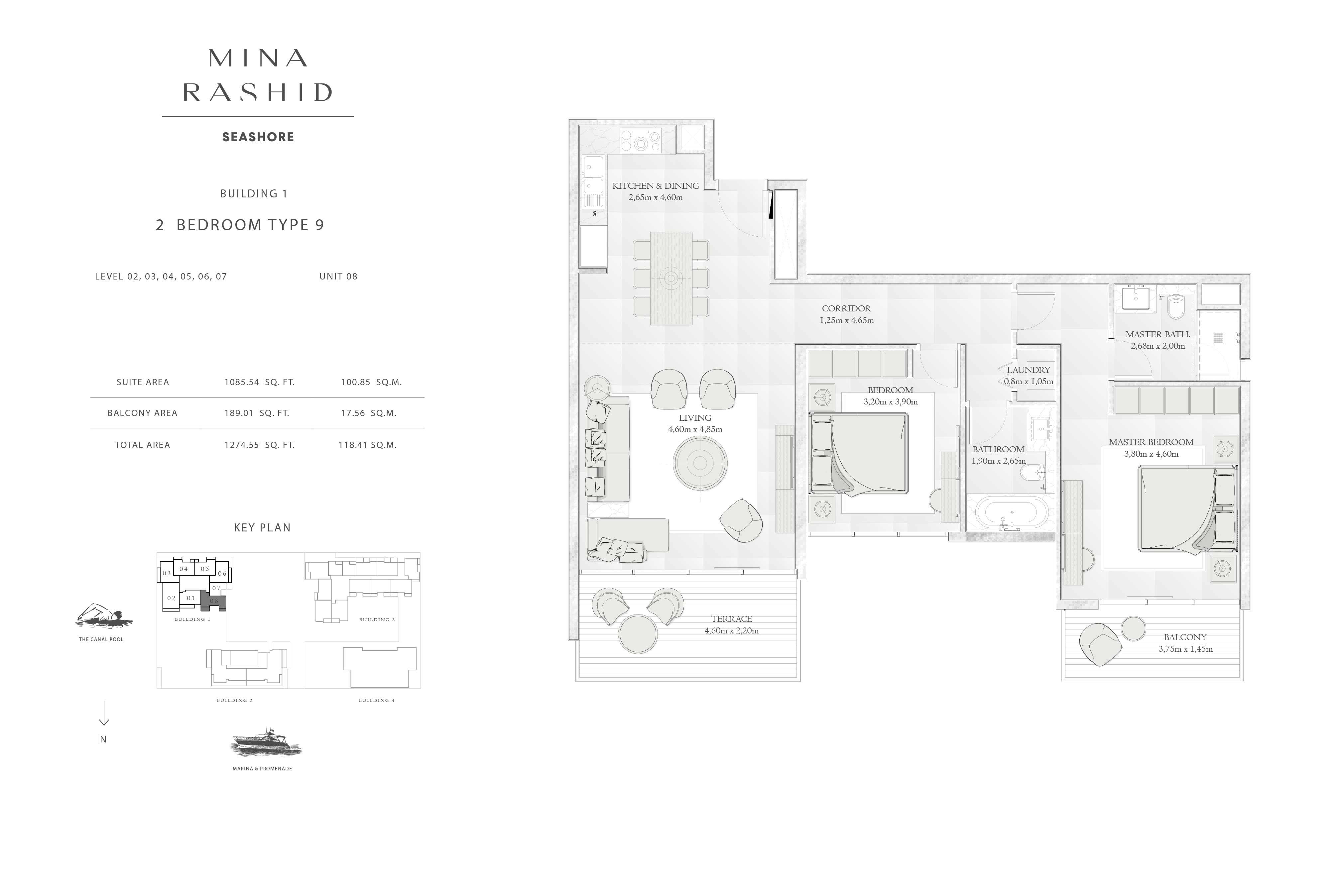 Building-1, 2-Bedroom Type-9, Size-1274-Sq Ft