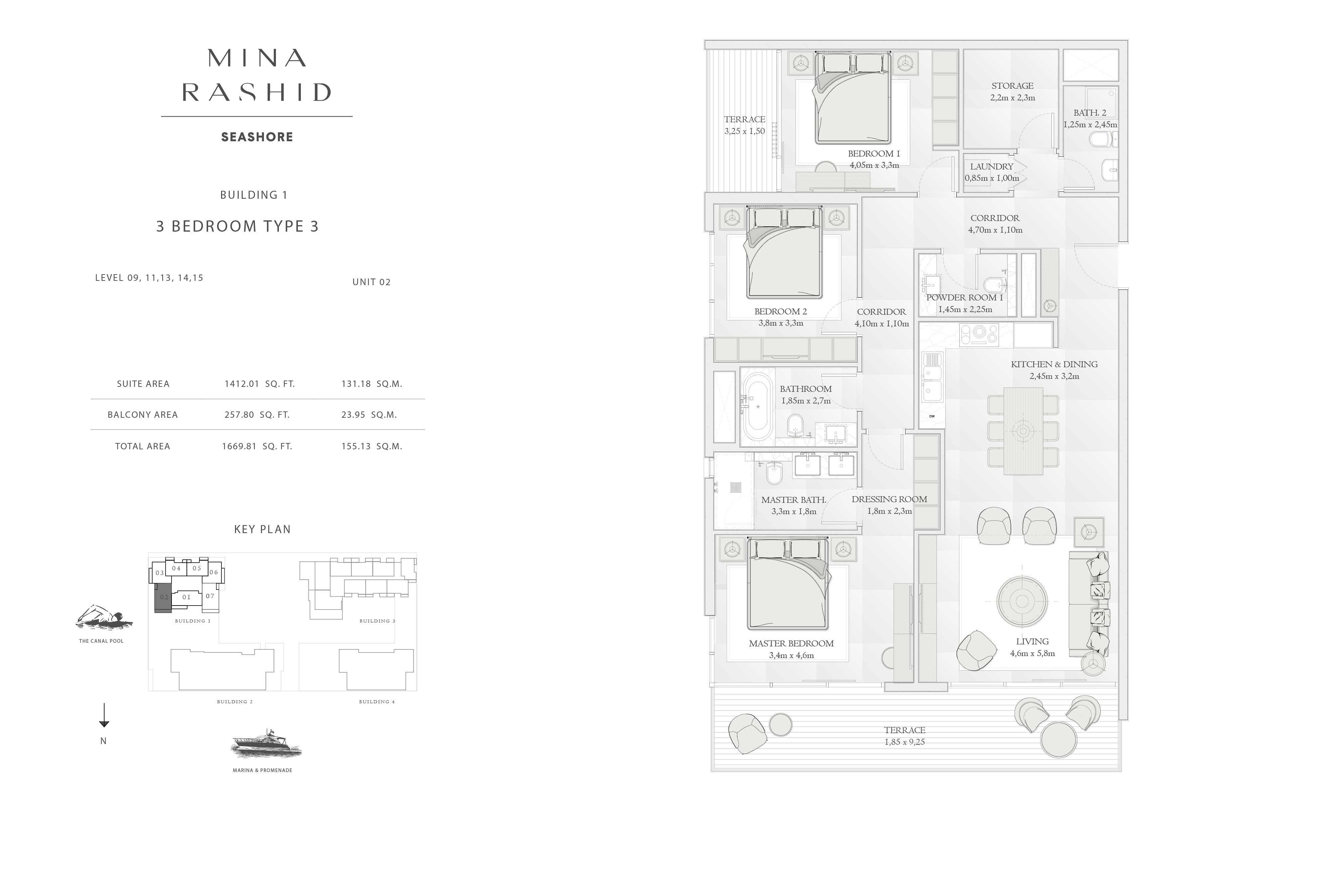 Building-1, 3-Bedroom Type-3, Size-1669-Sq Ft