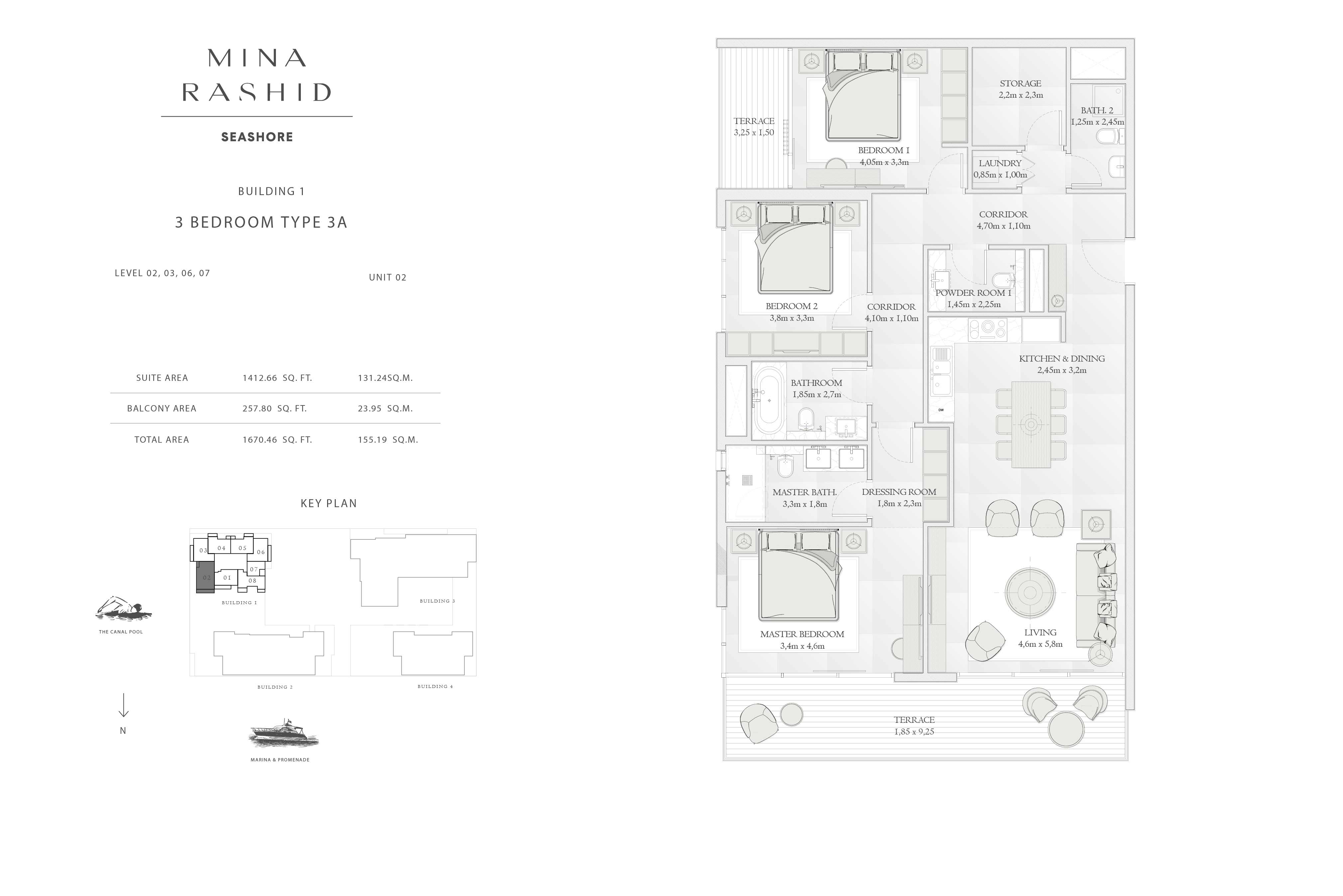 Building-1, 3-Bedroom Type-3A, Size-1670-Sq Ft